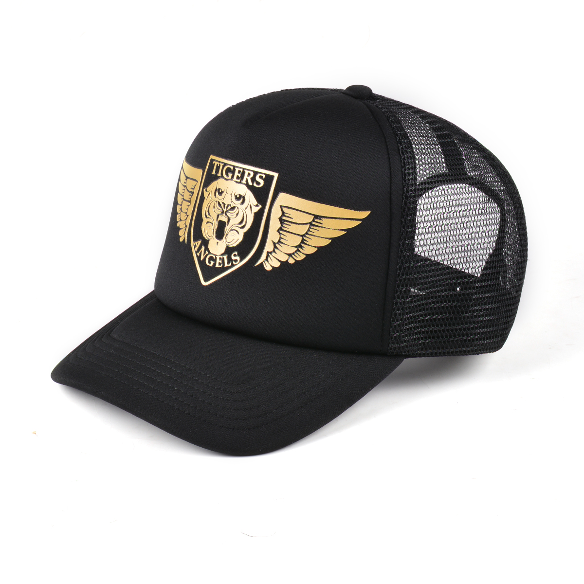 Gold Angel Wings Black Trucker Hat