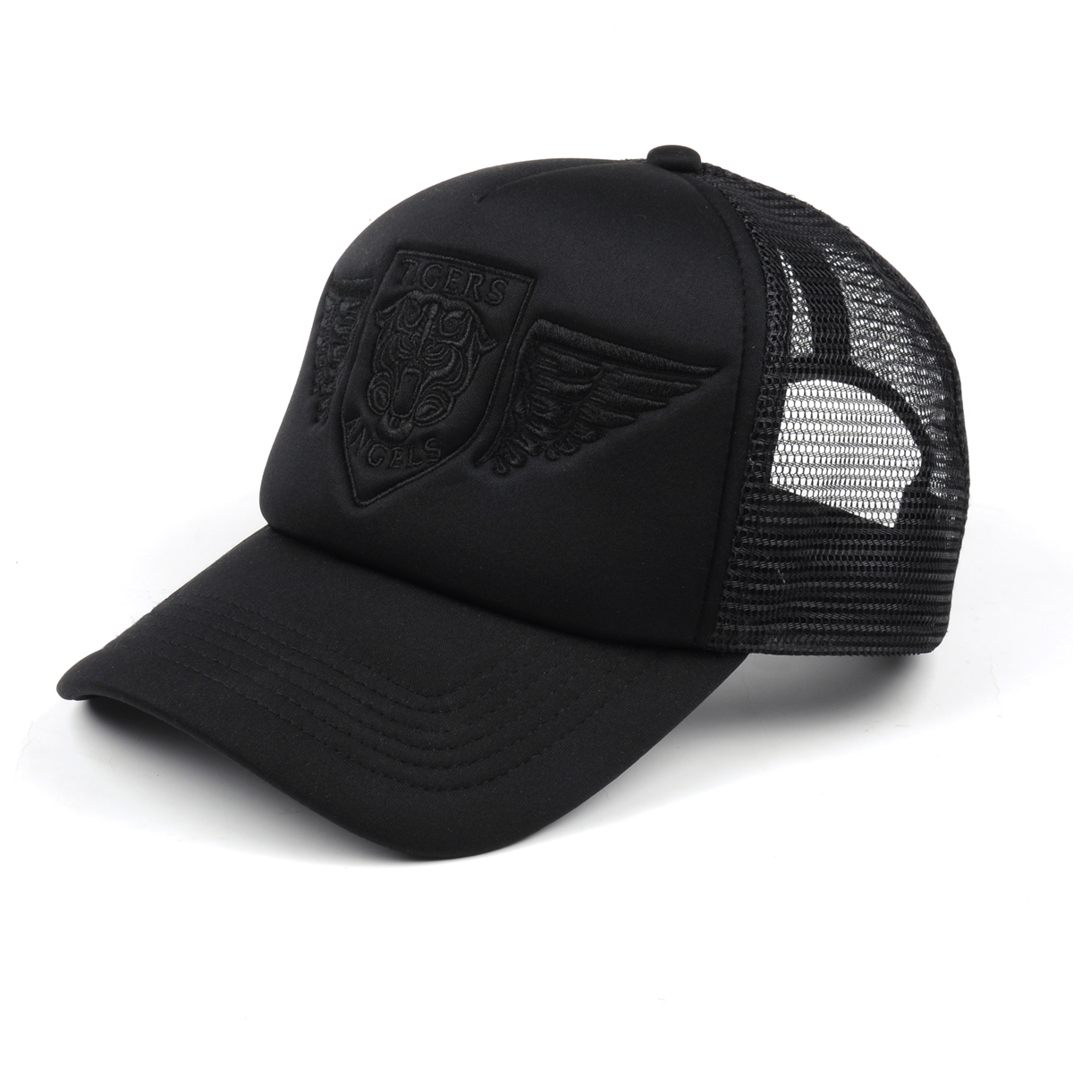 Tiger Wings Black Trucker Hat With Black Embroidery
