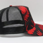 TIGERS ANGELS WINGS BLACK TRUCKER HAT WITH RED PRINT