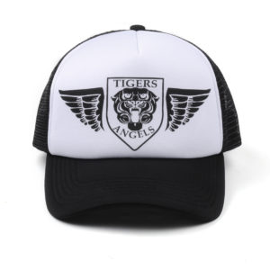TIGER WINGS BLACK/WHITE TRUCKER HAT WITH BLACK PRINT